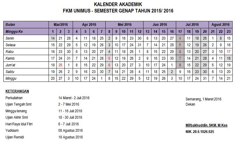 Kalender Akademik Semester Genap T.A. 2015/2016